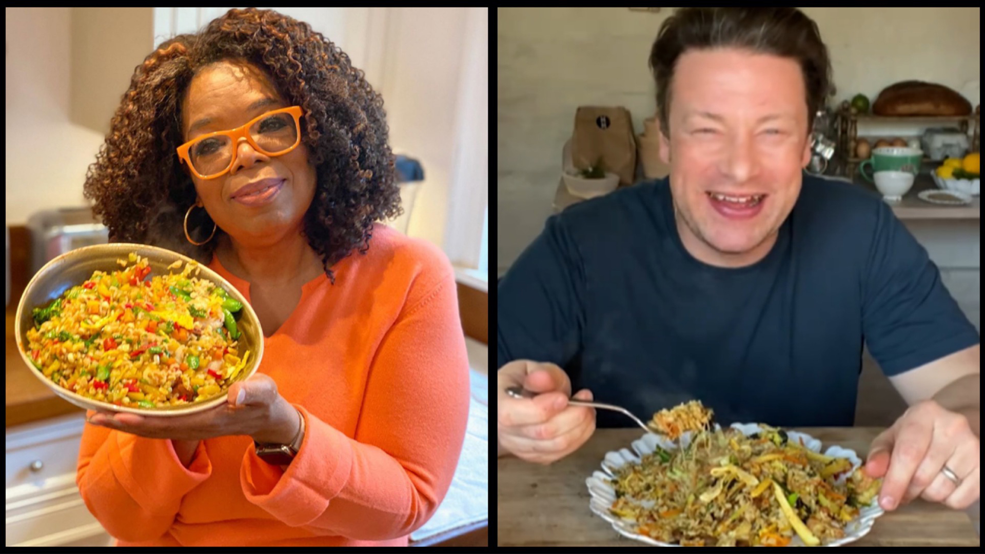 "Oprah Winfrey and Jamie Oliver took to Instagram Live on 10 Apr 2020 to cook up ""Singapore Fried Rice""."