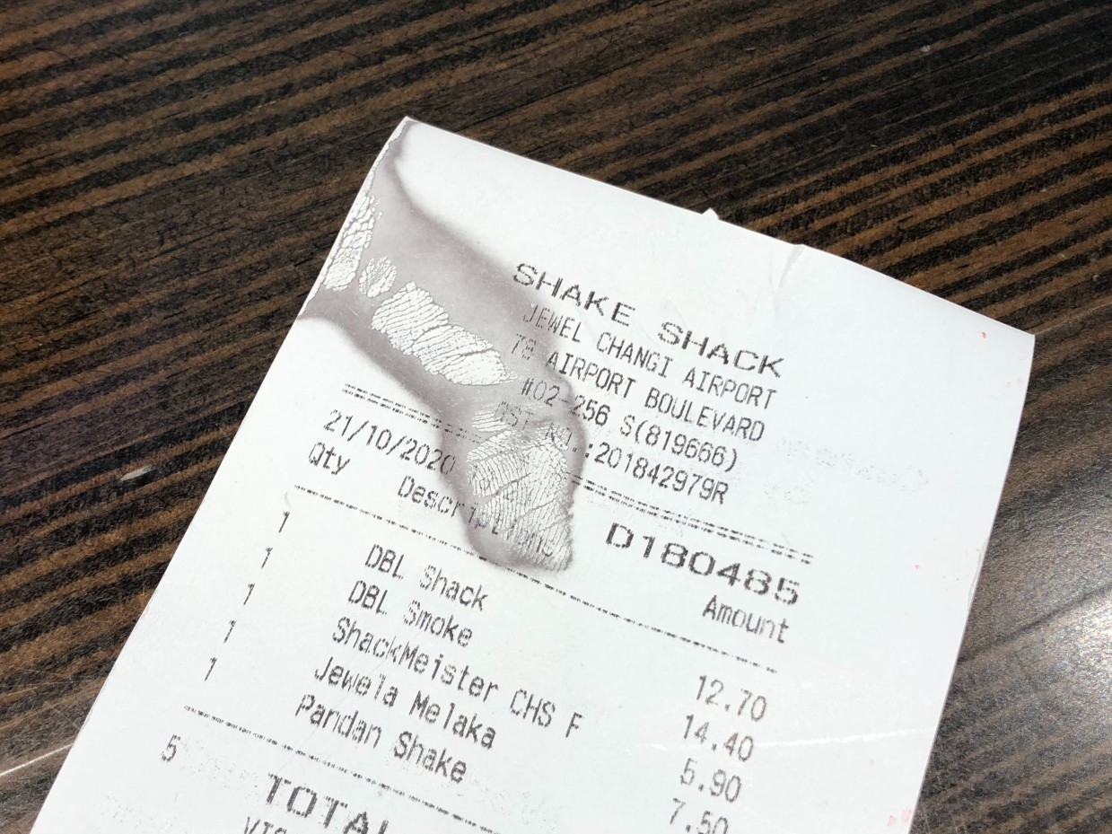 What the–?! Of all days, did a finger print have to appear on my dinner receipt just before I embarked on my ghost-hunting quest?