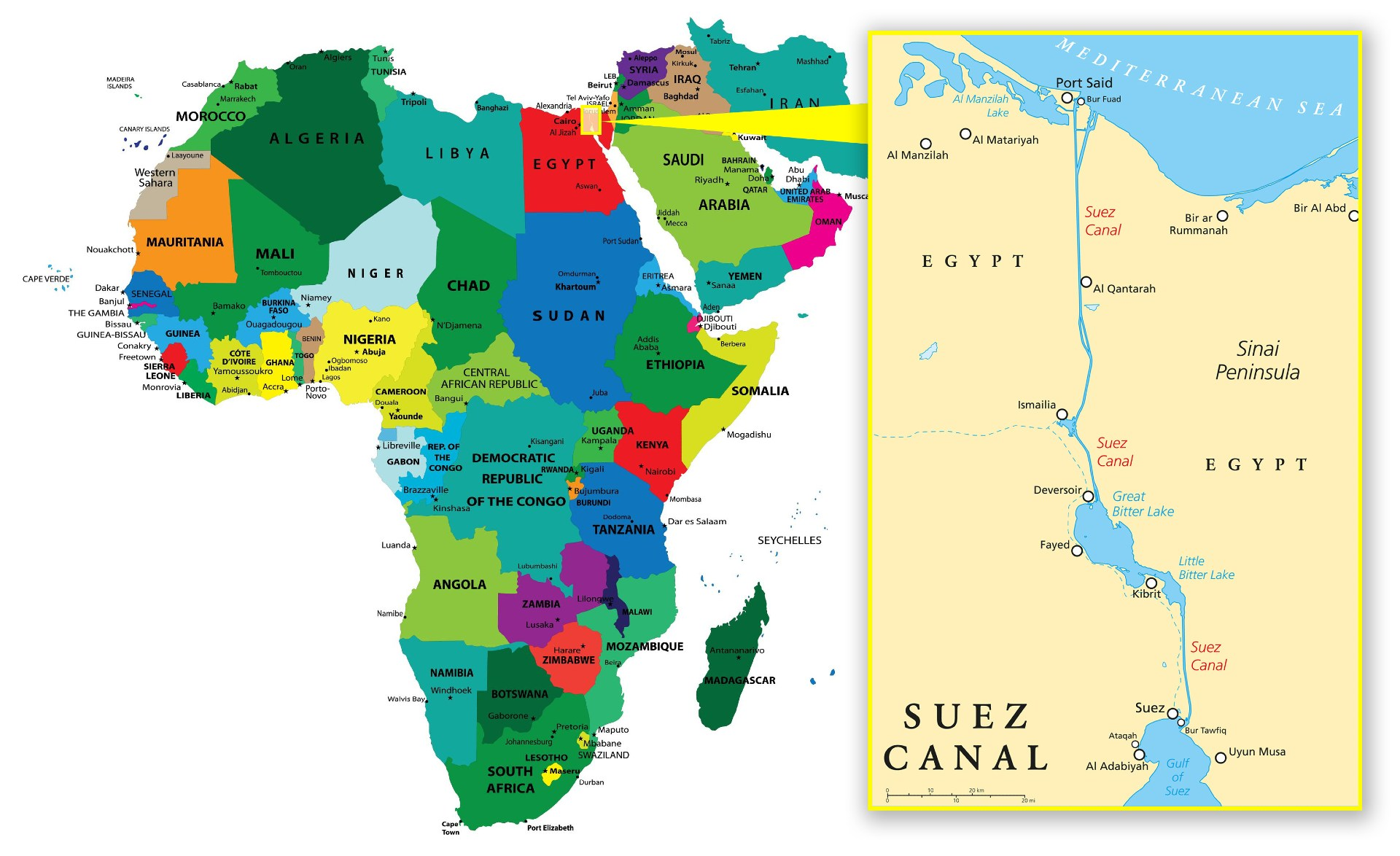 The Suez Canal is located on the Isthmus of Suez in eastern Egypt and connects the continents of Africa and Asia.