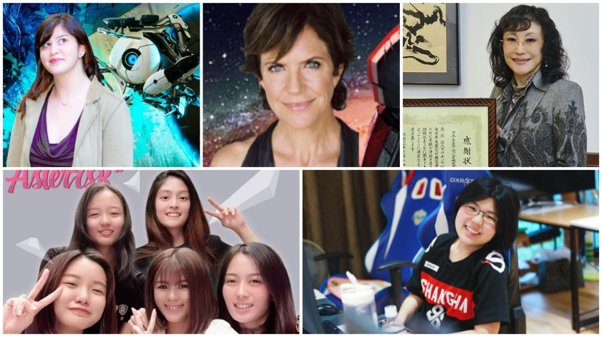 "(Clockwise from top left): American video game designer Kim Swift; voice actor Jennifer Hale; Koei co-founder Keiko Erikawa; first female esports player signed to the Overwatch League Kim ""Geguri"" Se-yeon; and first Singapore all-female e-sports team Asterisk."
