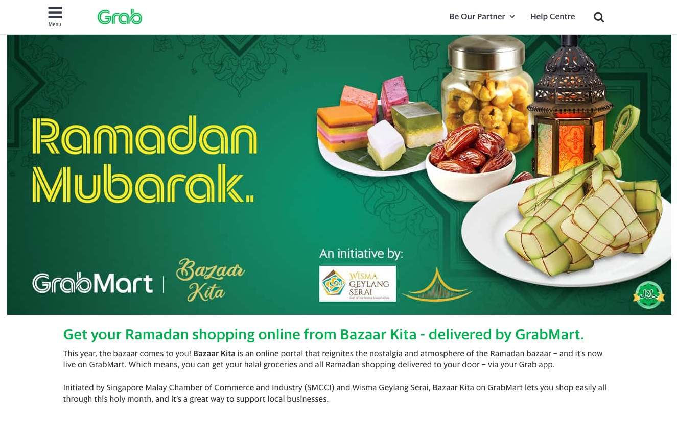"Click this image to visit the microsite on Grab.com linked to the ""Makan"" tab on the Bazaar Kita homepage."