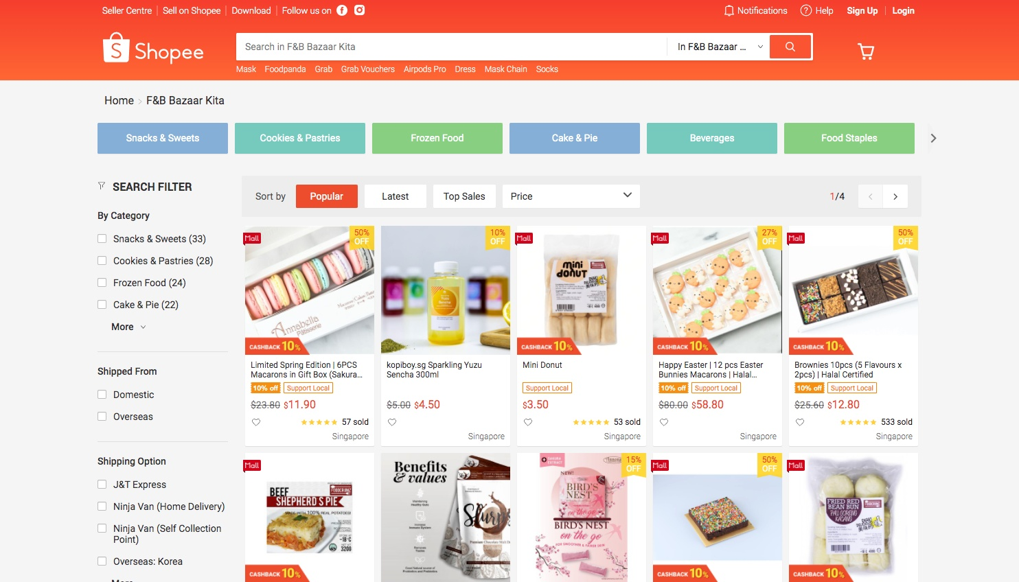 Click here to visit the microsite of sweet treats offered on Shopee.